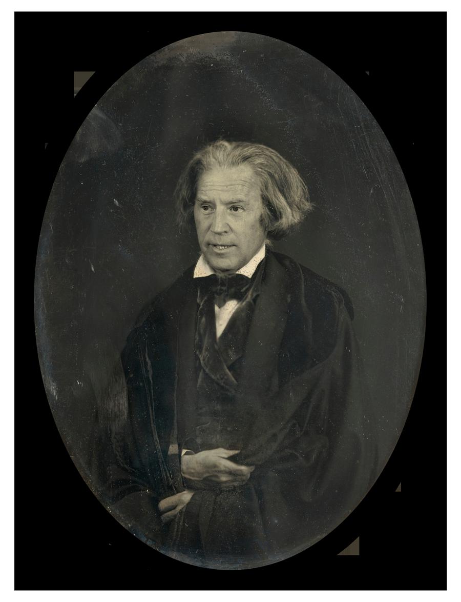 Joe Biden's face superimposed onto a portrait of John C. Calhoun