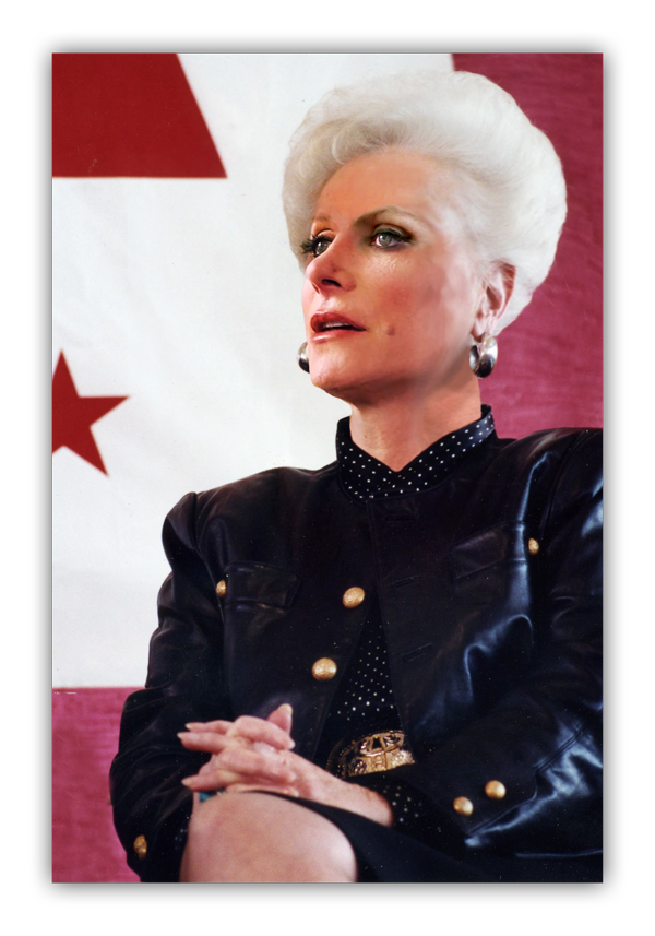 Wendy Davis's face superimposed onto a portrait of Ann Richards