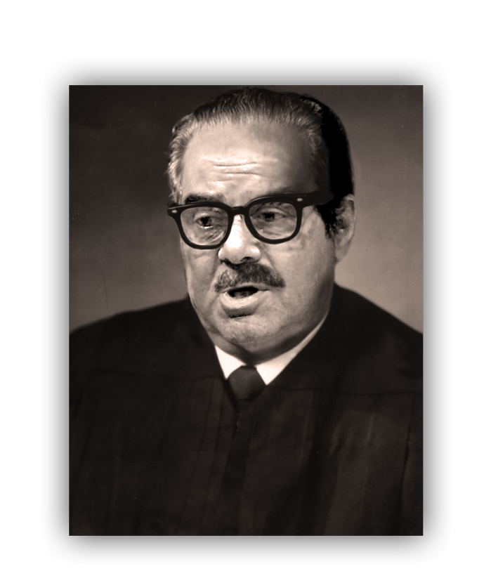 Antonin Scalia's face superimposed onto a portrait of Thurgood Marshall