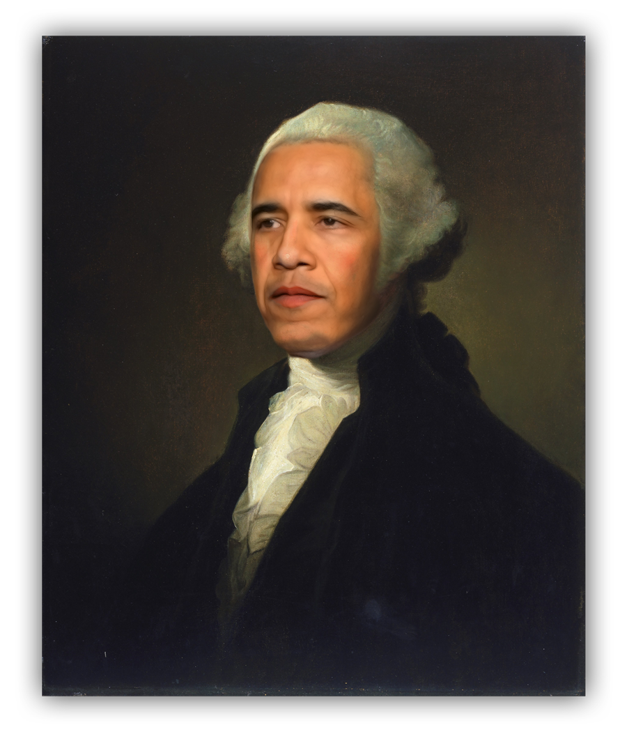 Barack Obama's face superimposed onto a portrait of George Washington