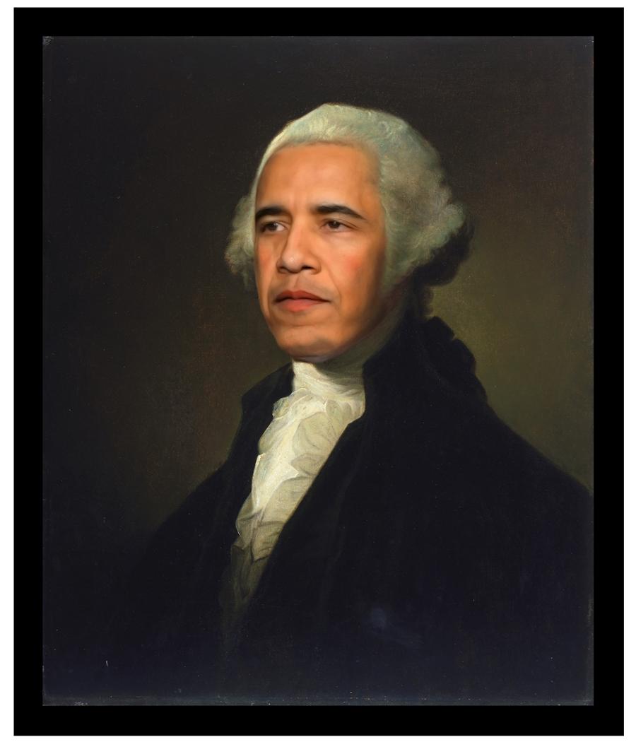 Barack Obama's face superimposed onto a portrait of George Washington